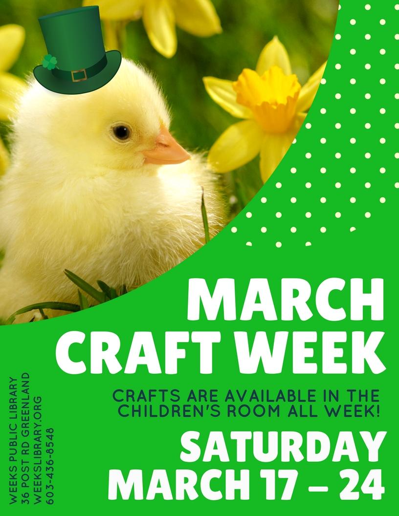 9 00am March Craft Week Weeks Public Library