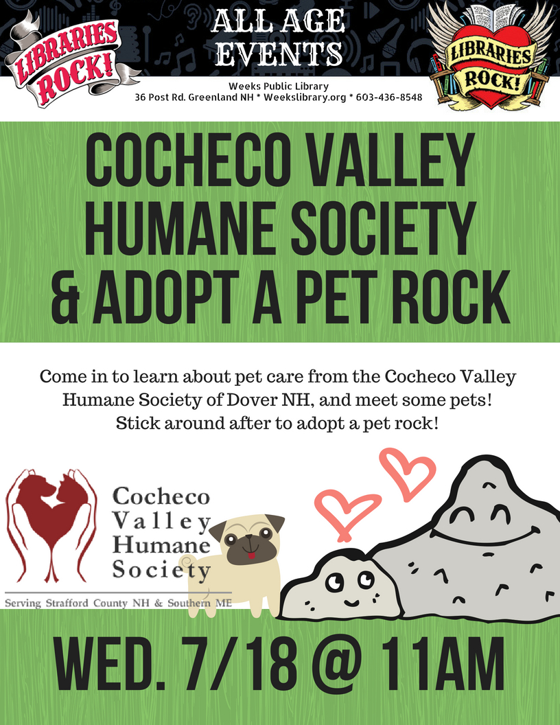 11 00am Cocheco Valley Humane Society Adopt A Pet Rock Weeks